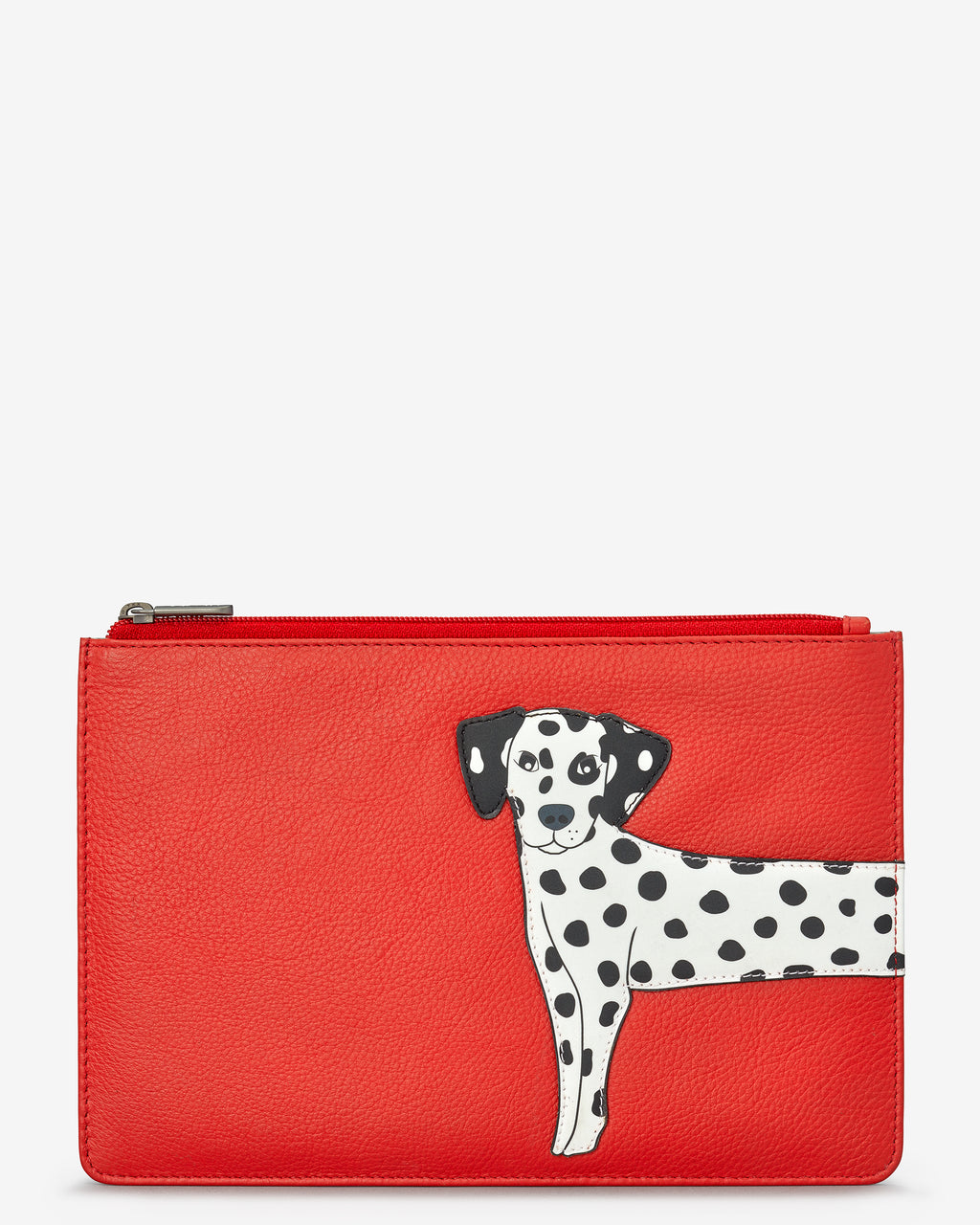 Penny The Dalmatian Zip Top Leather Pouch