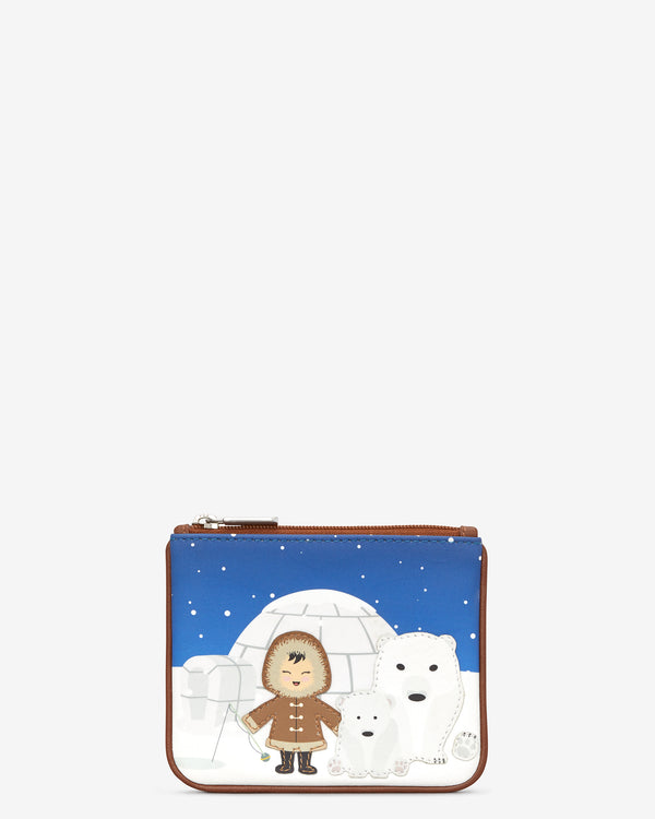 Y By Yoshi Polar Bear Family Leather Zip Top Purse