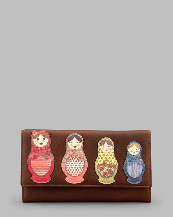 Russian Dolls Flap Over Leather Purse