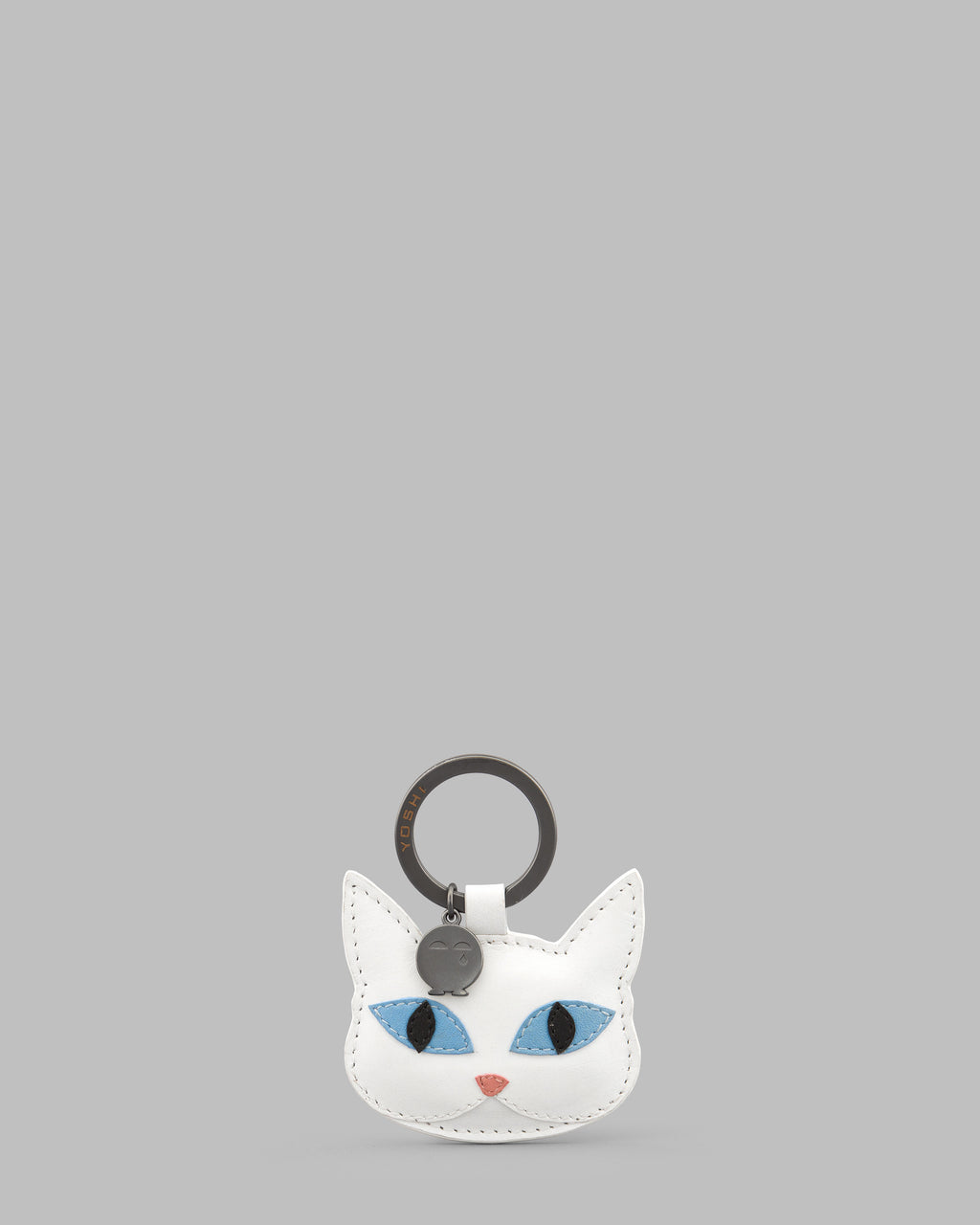 Snowy The Cat White Leather Keyring