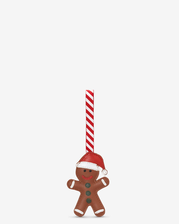 Gingerbread Man Tan Leather Christmas Tree Decoration