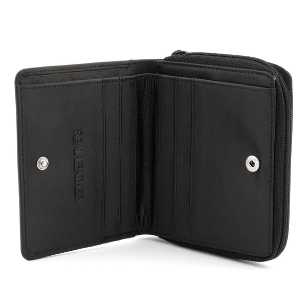 Black Leather Two Fold Wallet With Zip Coin Pocket