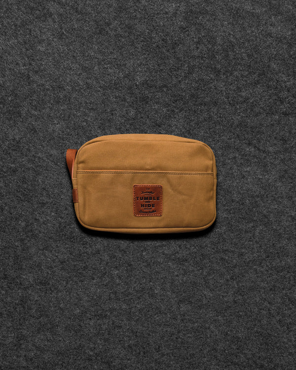 Chukka Leather And Waxed Canvas Wash Bag