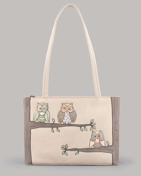 Twit Twoo Leather Shoulder Bag