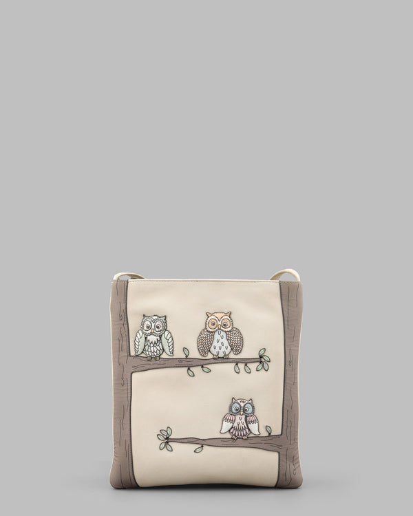 Twit Twoo Leather Cross Body Bag