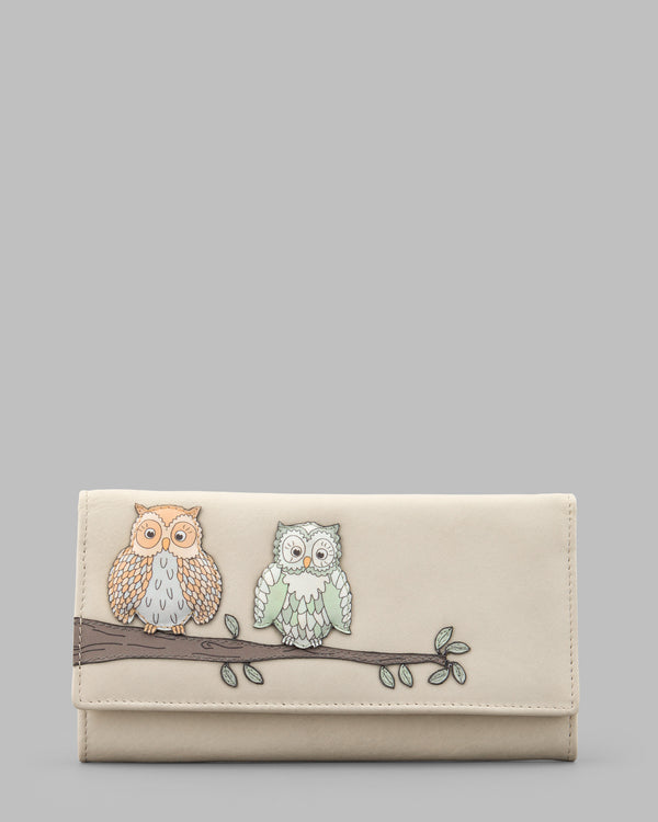 Twit Twoo Flap Over Leather Purse