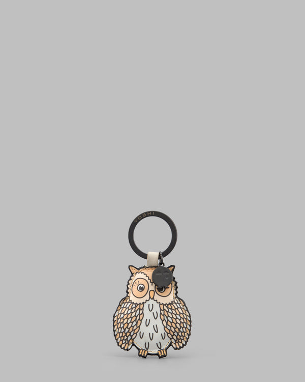Twit Twoo Cream Leather Owl Keyring