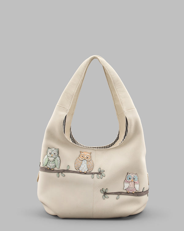 Twit Twoo Leather Slouch Shoulder Bag