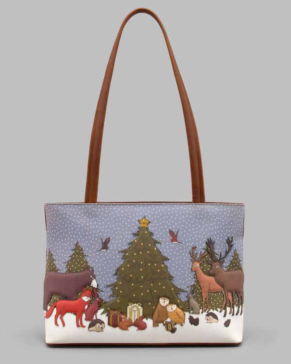 Winter Woodland Leather Shoulder Bag