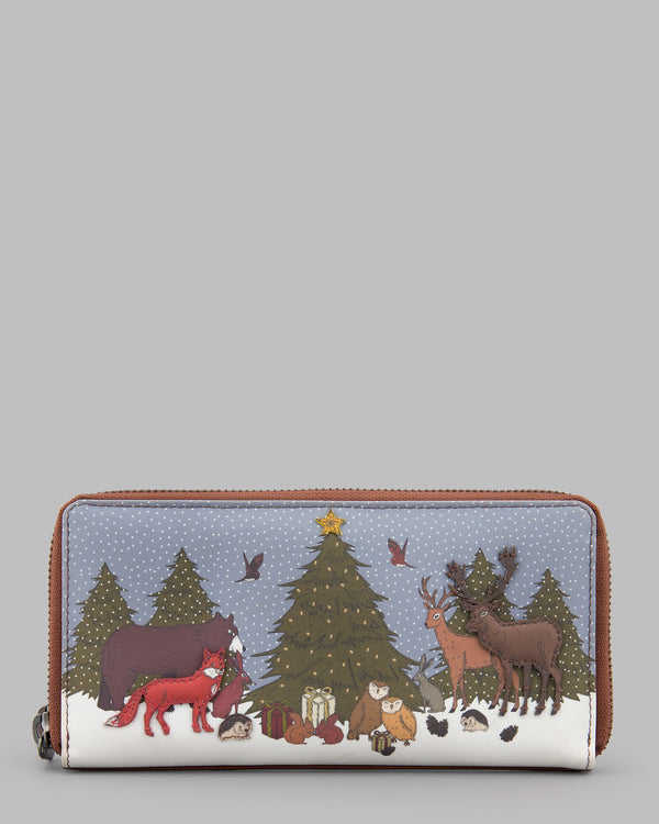 Winter Woodland Leather Zip Around Purse