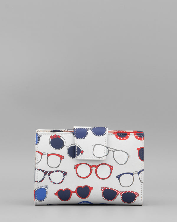 Y1011 SHADES - Flap Over Leather Purse With Sunglasses Print