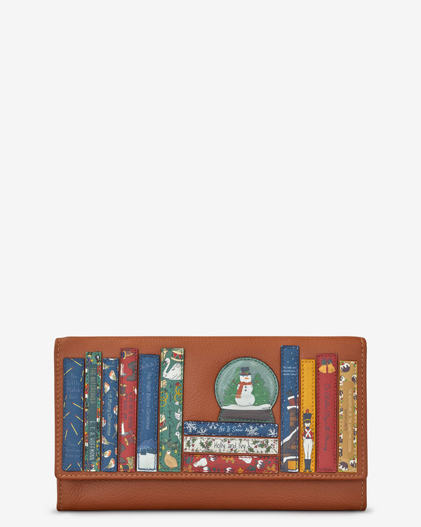 Christmas Bookworm Flap Over Tan Leather Purse