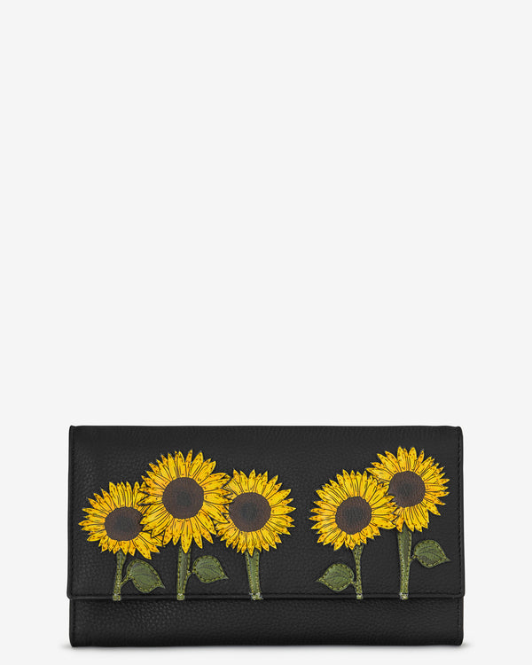 Sunflowers Flap Over Leather Purse
