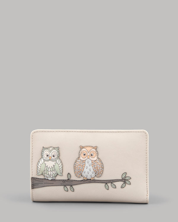 Twit Twoo Flap Over Zip Round Leather Purse