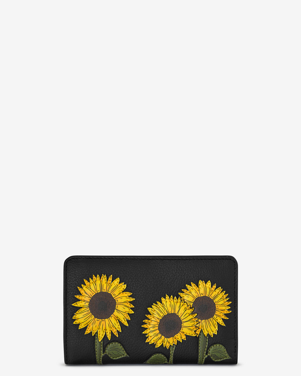 Sunflowers Zip Around Leather Purse