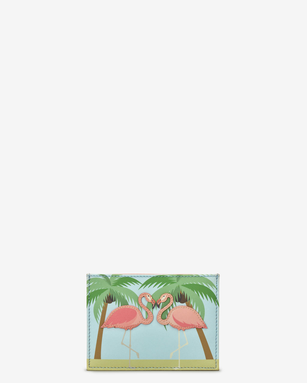 Flock Of Flamingo Slim Leather Card Holder