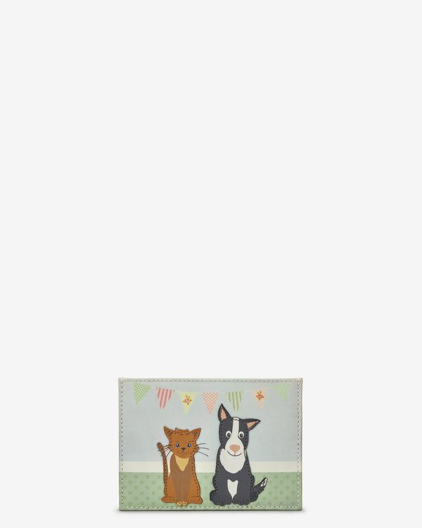Dog And Cat Pet Party Slim Leather Card Holder