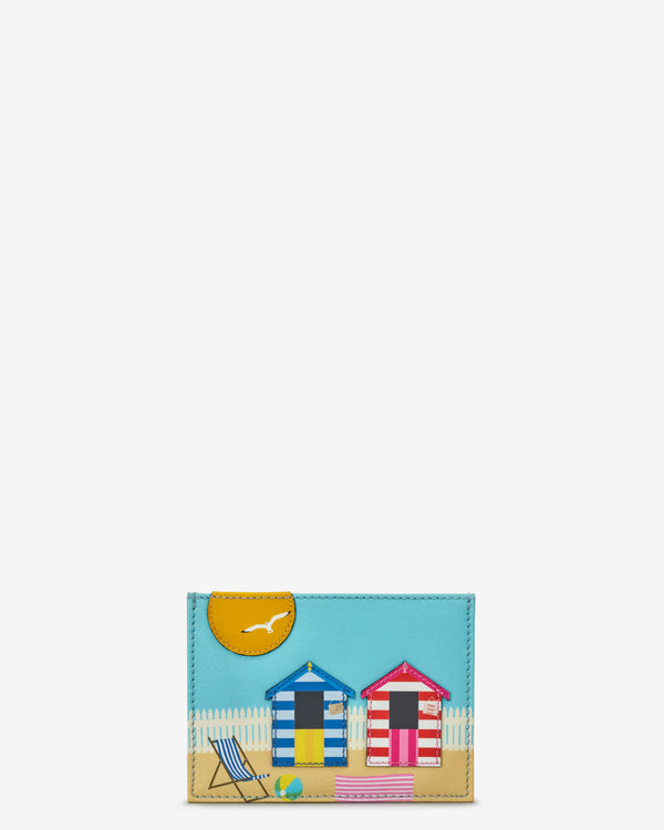 Beach Hut And Sun Slim Leather Card Holder