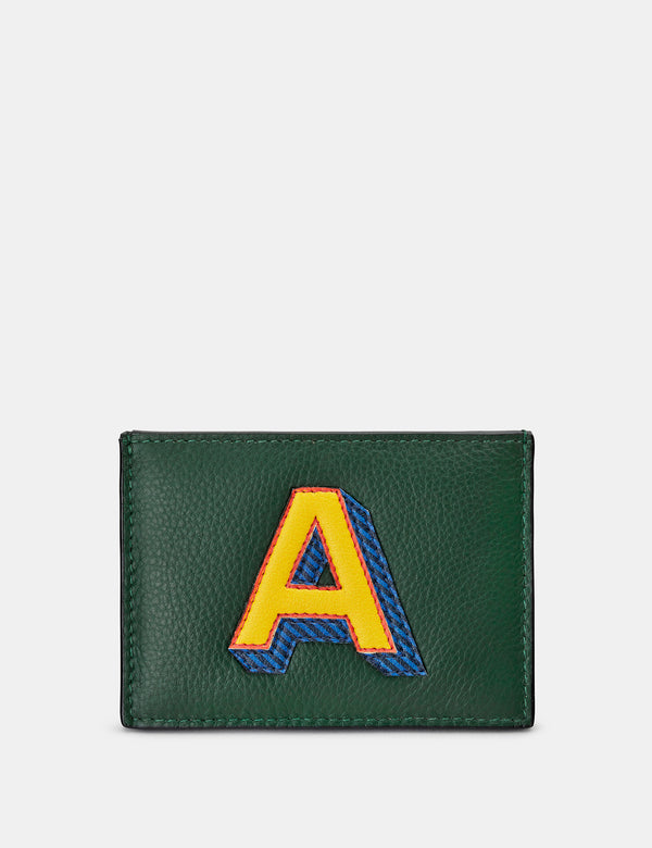 A Initial Green Leather Card Holder