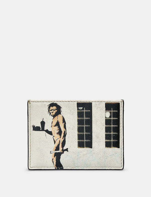 Banksy Ape Man Slim Black Leather Card Holder