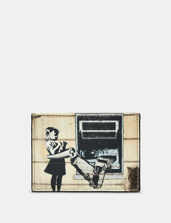 Banksy Cash Machine Slim Black Leather Card Holder