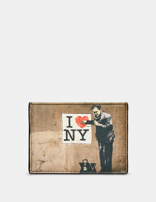 Banksy NY Slim Black Leather Card Holder