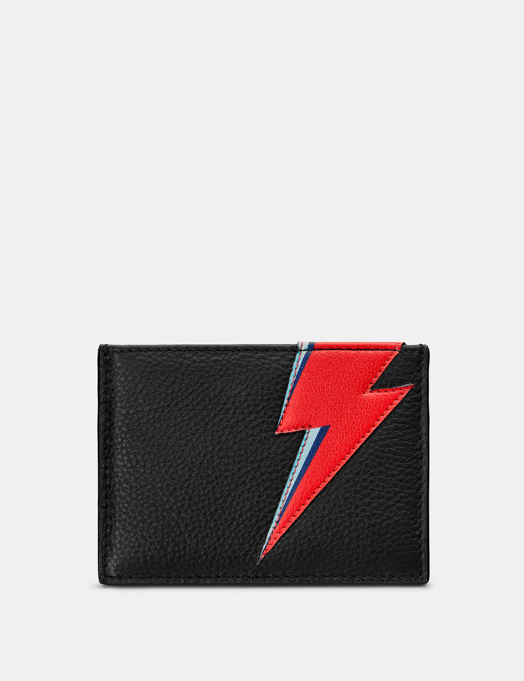 Lightning Bolt Black Leather Card Holder