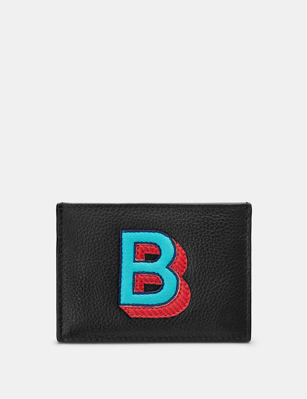 B Initial Black Leather Card Holder