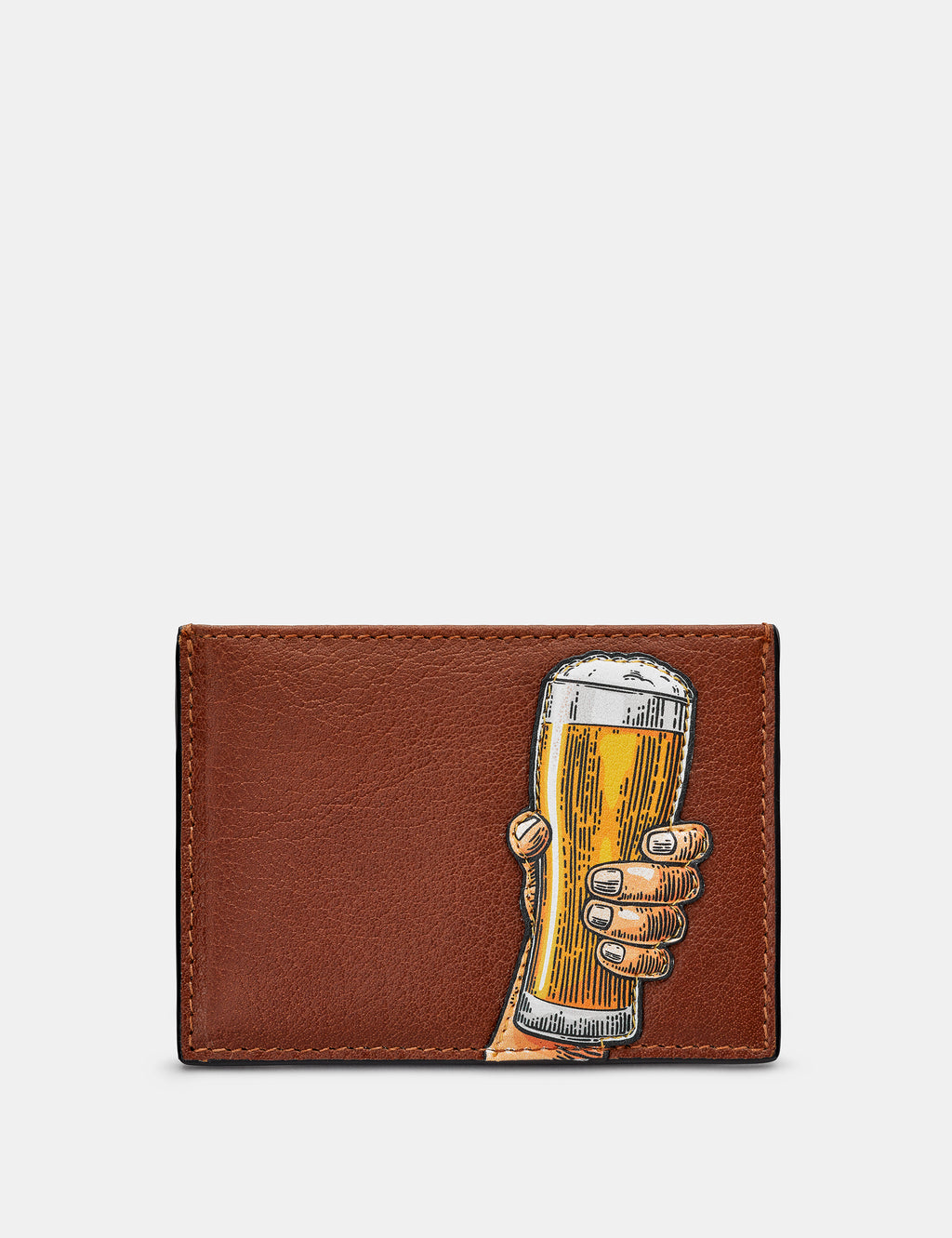 Cheers Slim Brown Leather Card Holder