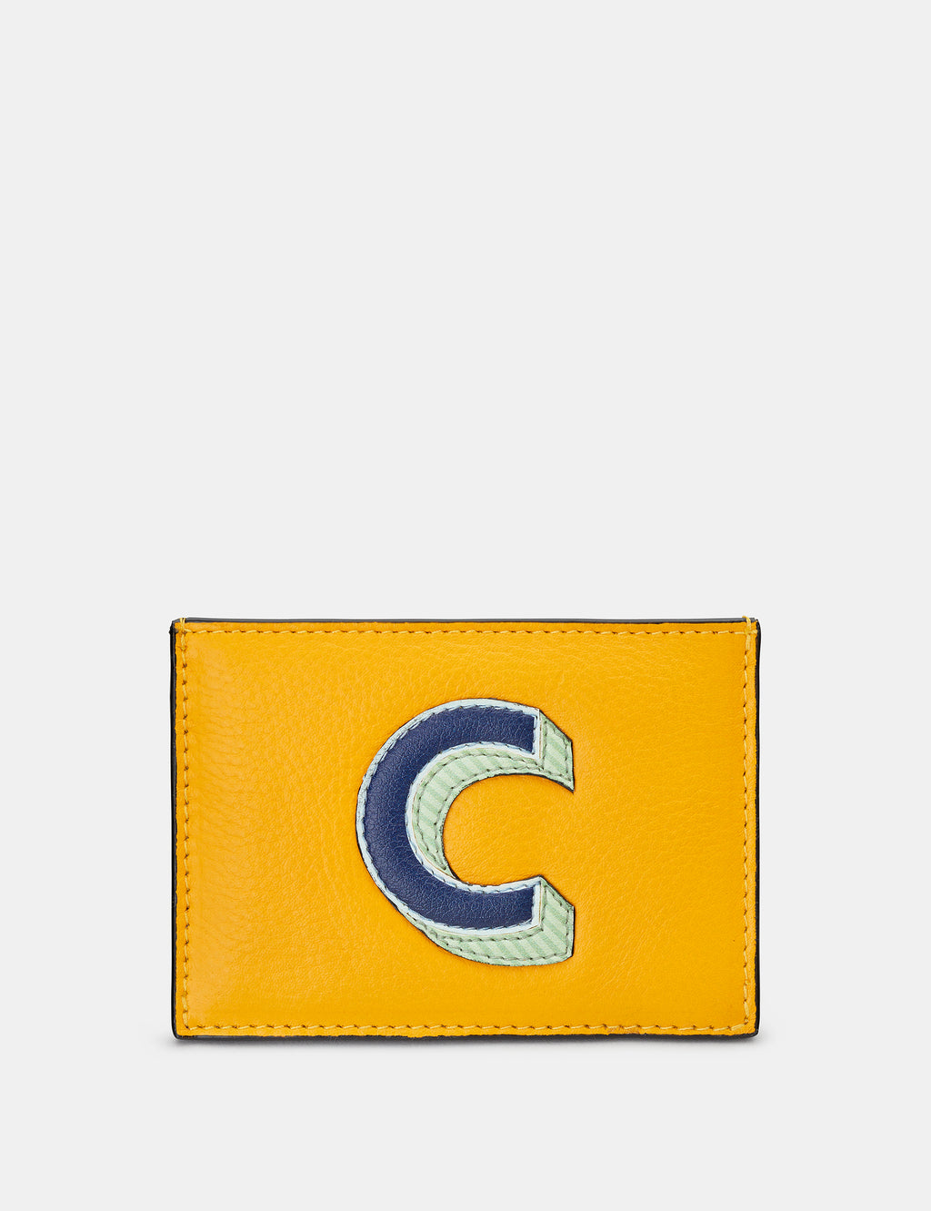 C Initial Mustard Yellow Leather Card Holder