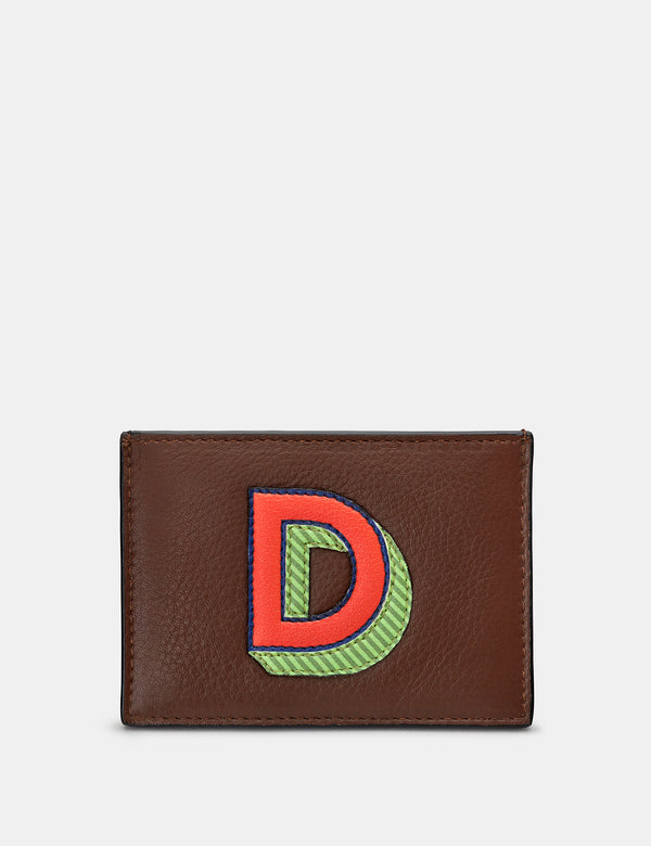 D Initial Brown Leather Card Holder