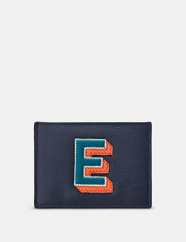 E Initial Navy Leather Card Holder