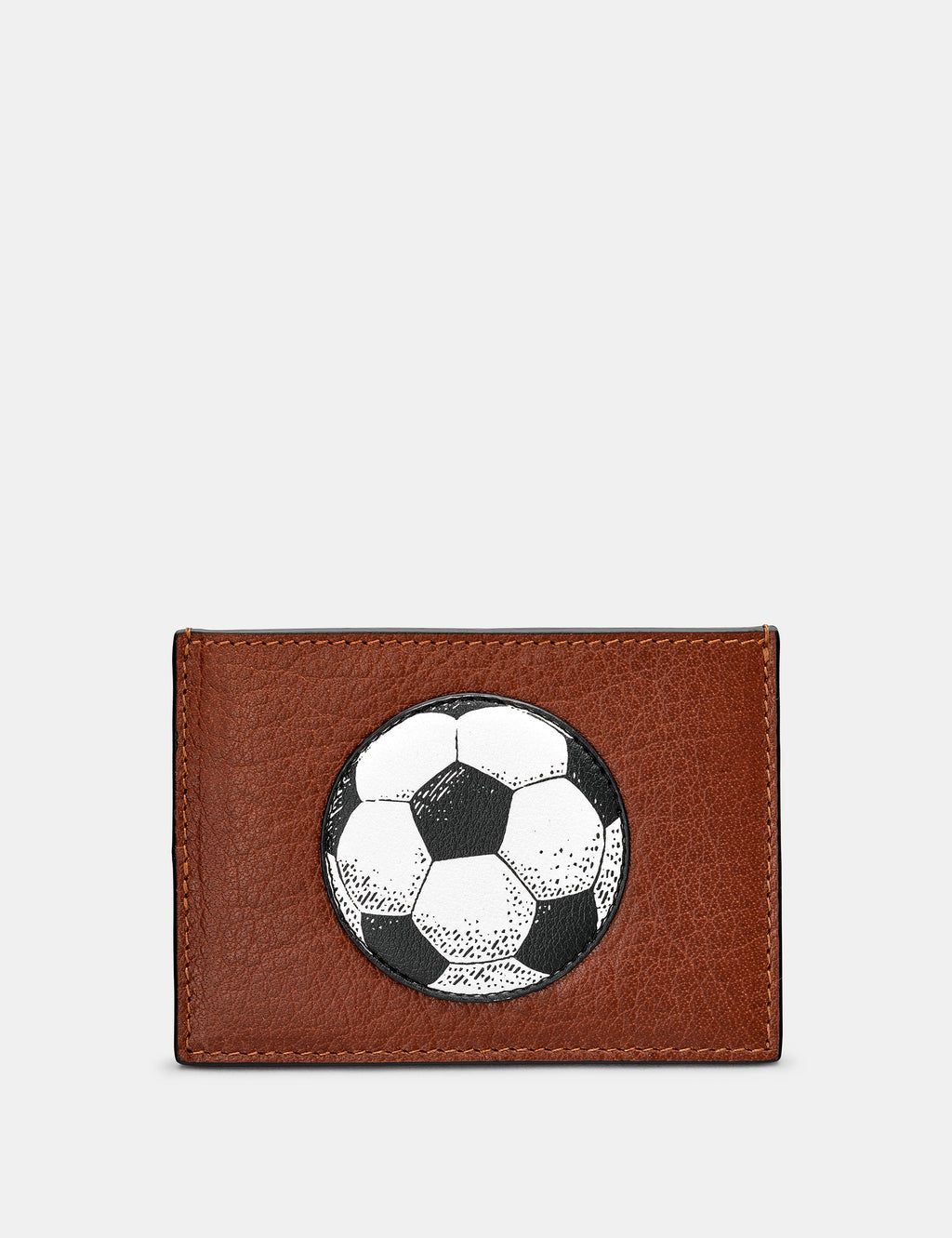 Football Slim Brown Leather Card Holder