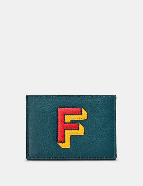 F Initial Teal Leather Card Holder