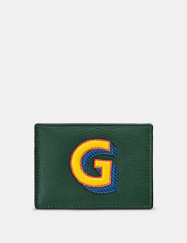 G Initial Green Leather Card Holder