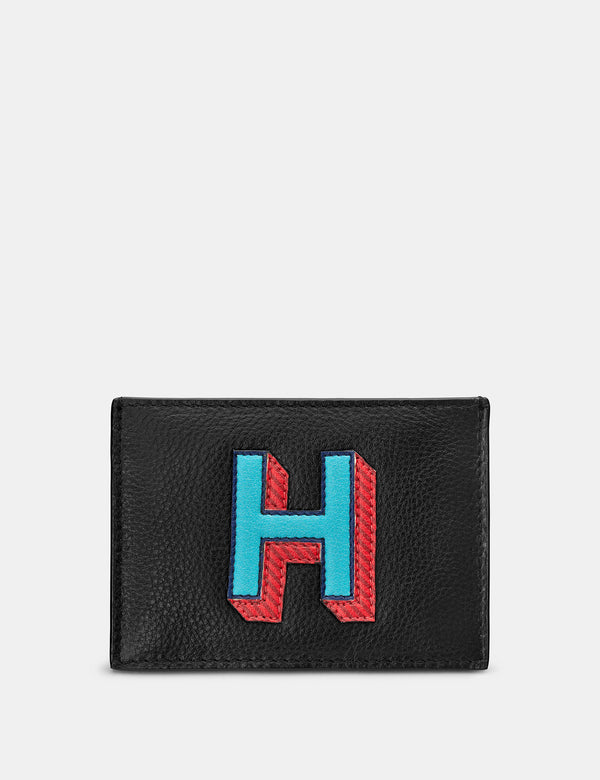 H Initial Black Leather Card Holder