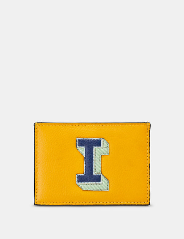 I Initial Mustard Yellow Leather Card Holder