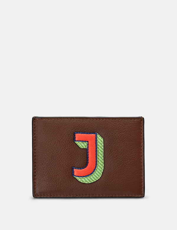 J Initial Brown Leather Card Holder