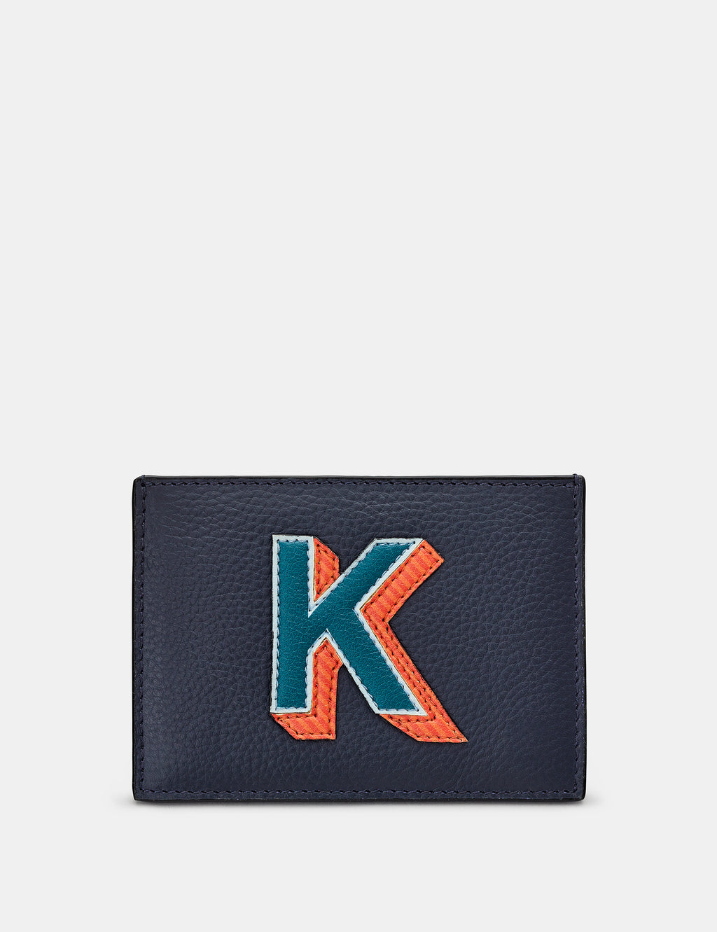 K Initial Navy Leather Card Holder