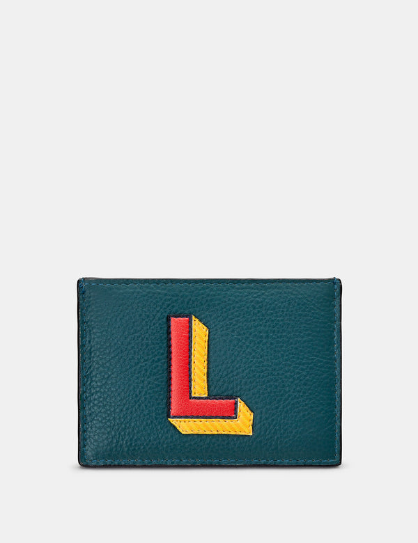 L Initial Teal Leather Card Holder