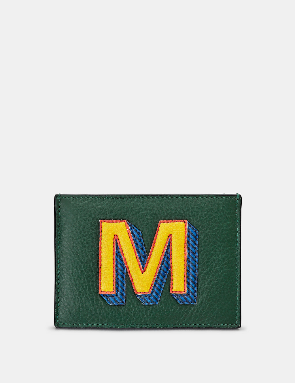 M Initial Green Leather Card Holder