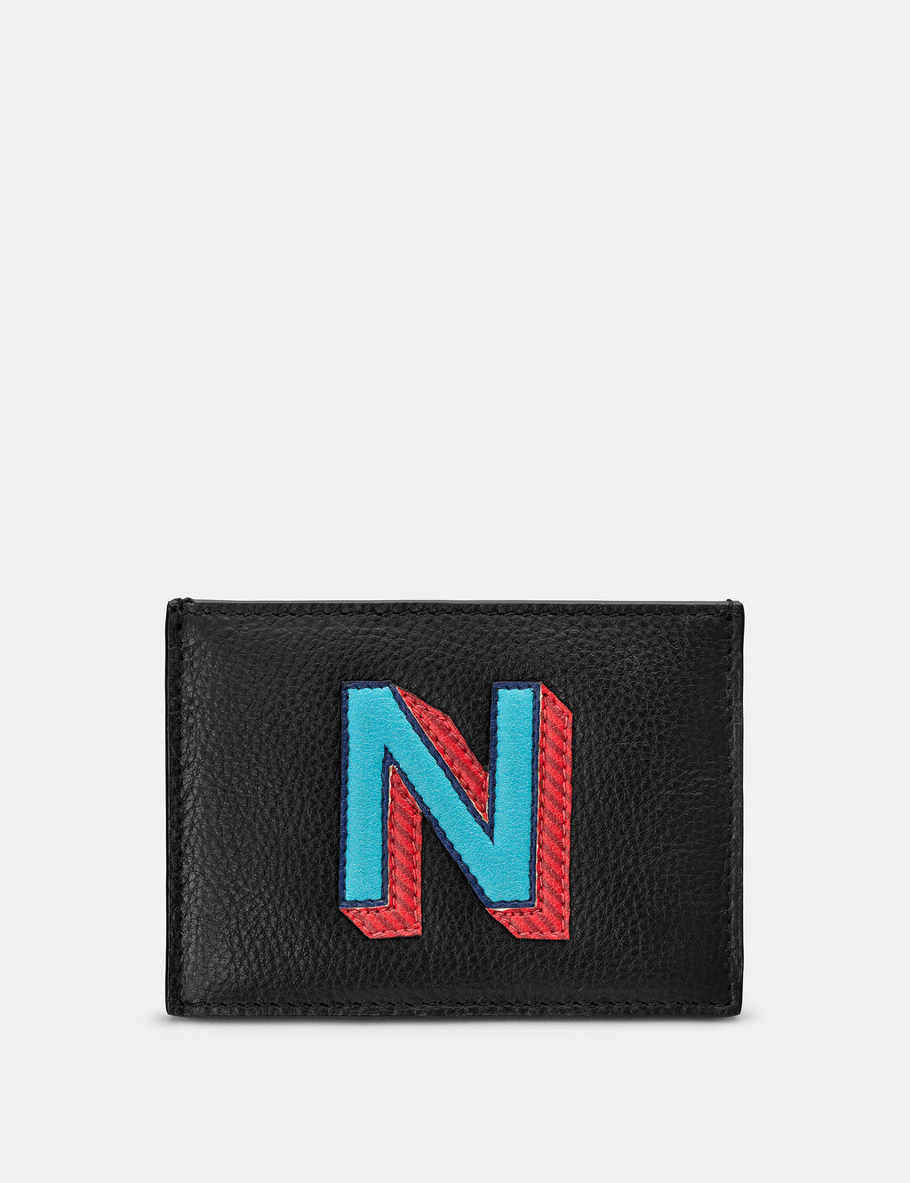 N Initial Black Leather Card Holder