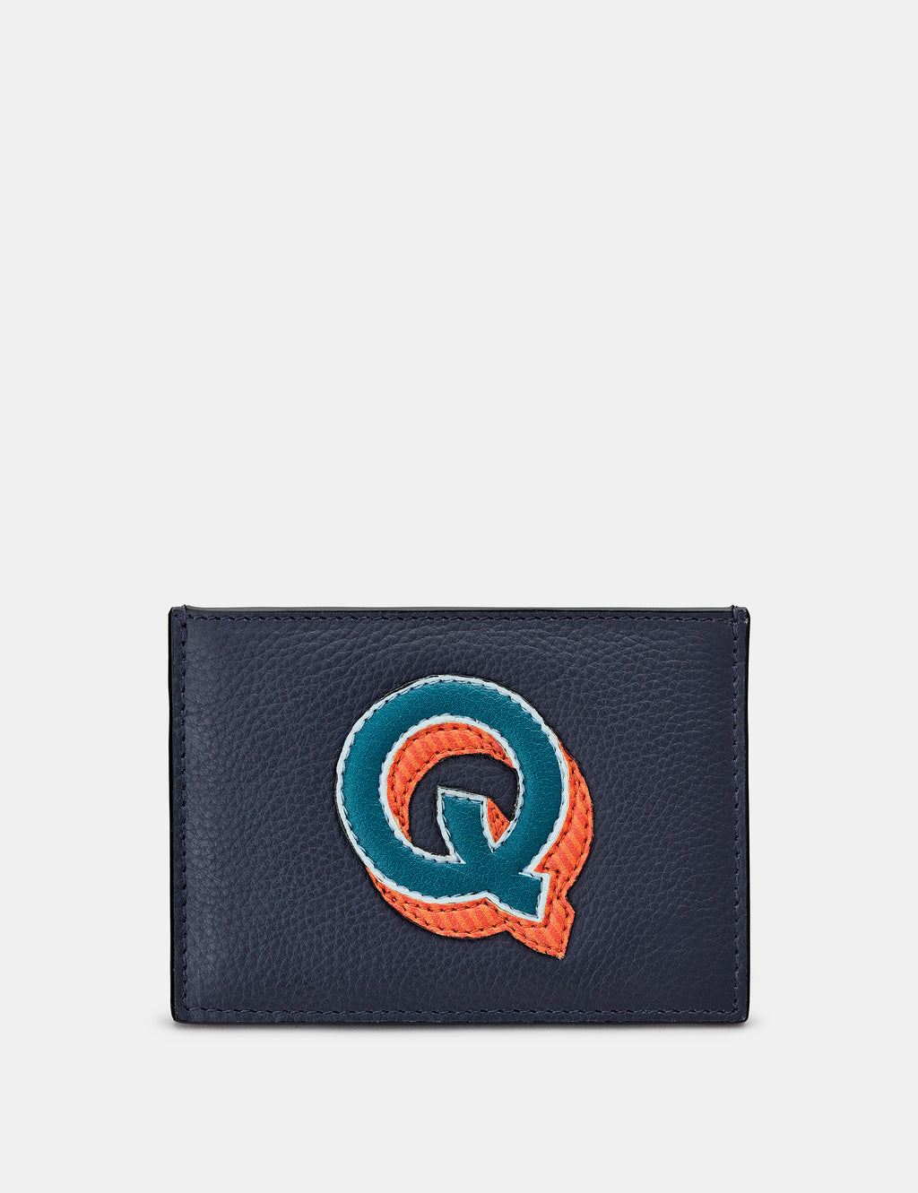 Q Initial Navy Leather Card Holder