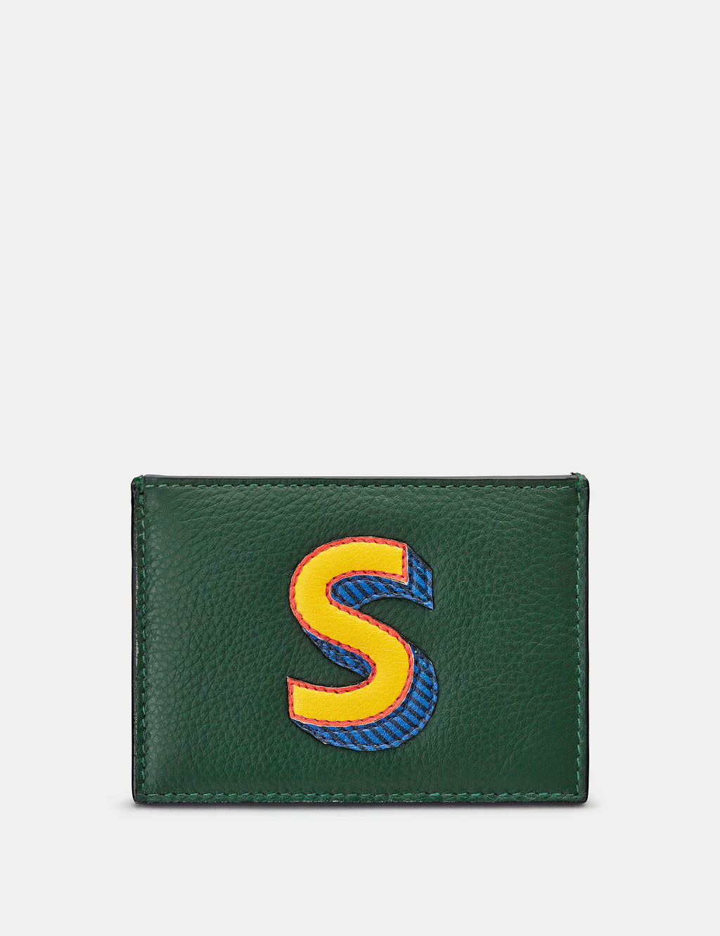 S Initial Green Leather Card Holder