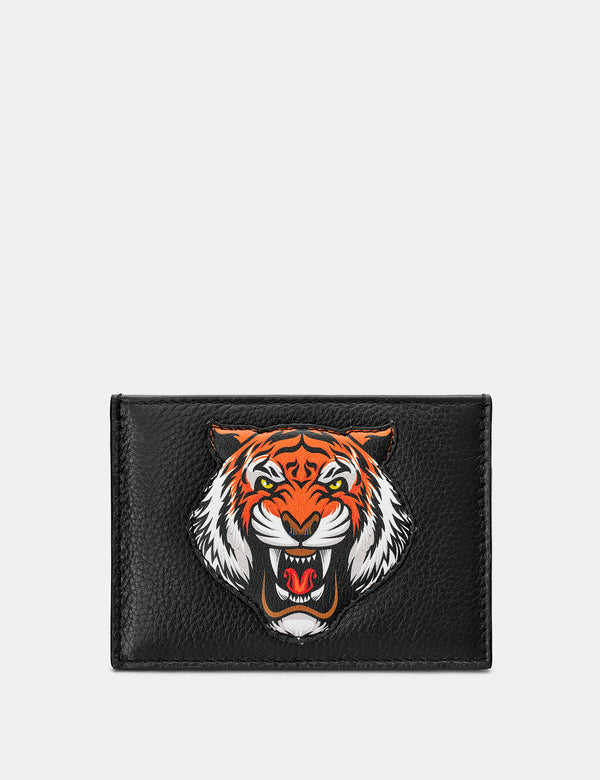 Tiger Black Leather Card Holder