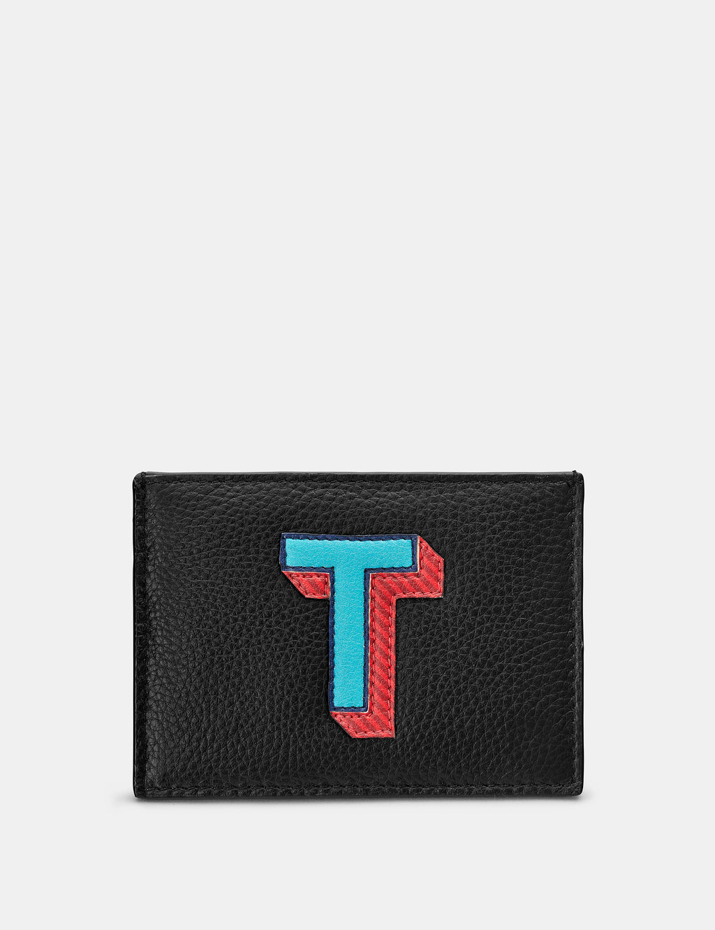 T Initial Black Leather Card Holder
