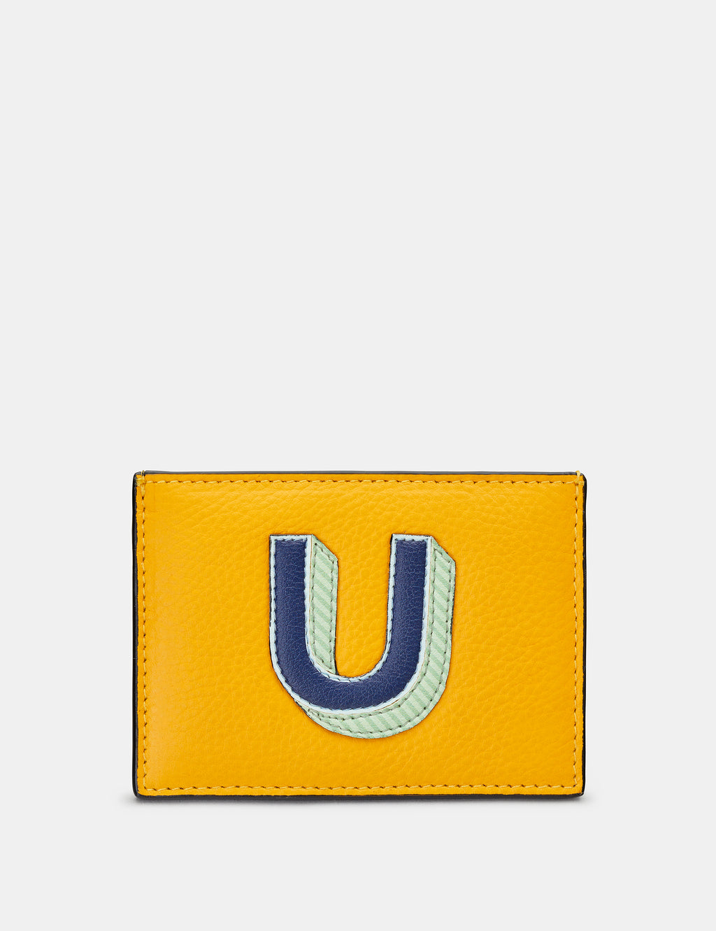 U Initial Mustard Yellow Leather Card Holder