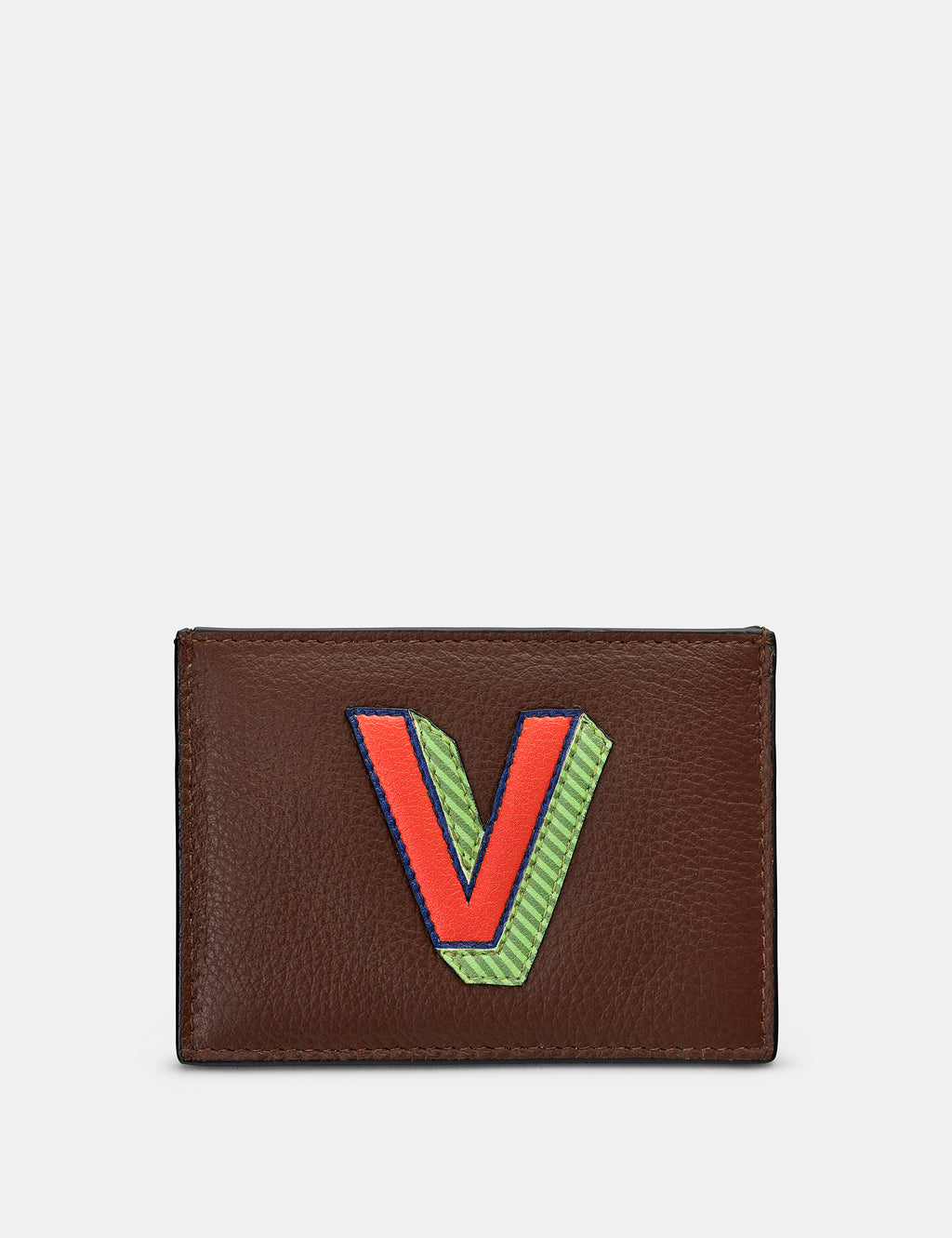 V Initial Brown Leather Card Holder