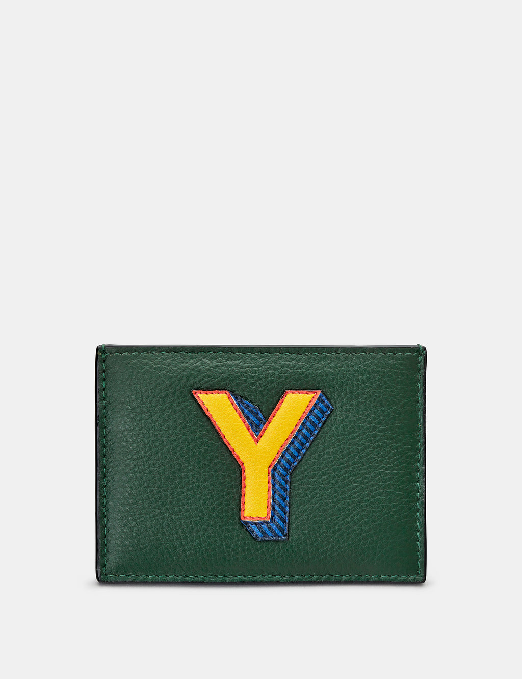 Y Initial Green Leather Card Holder