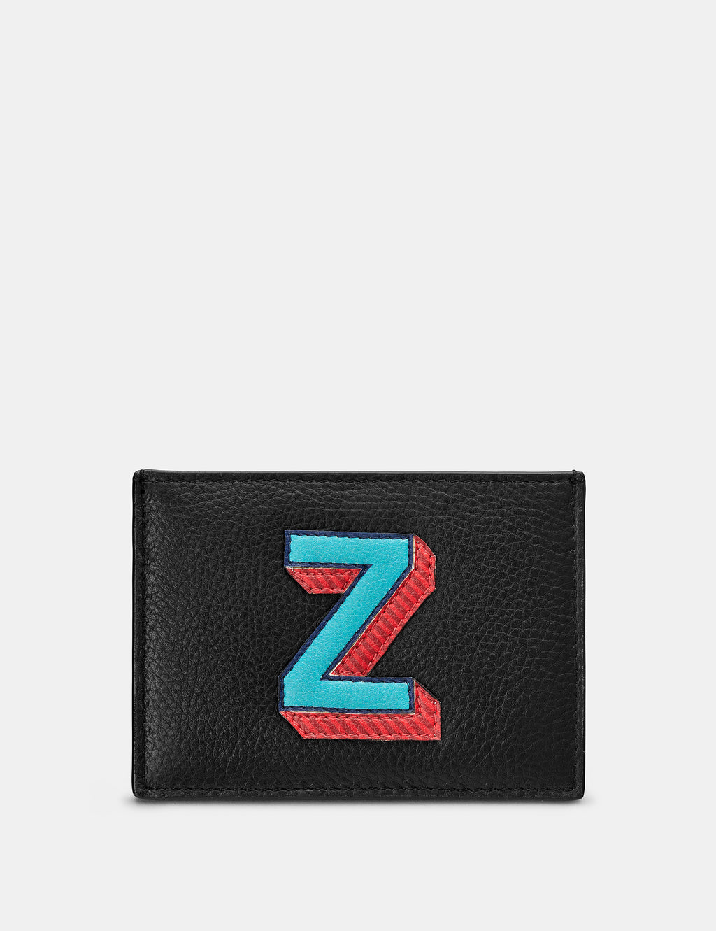 Z Initial Black Leather Card Holder